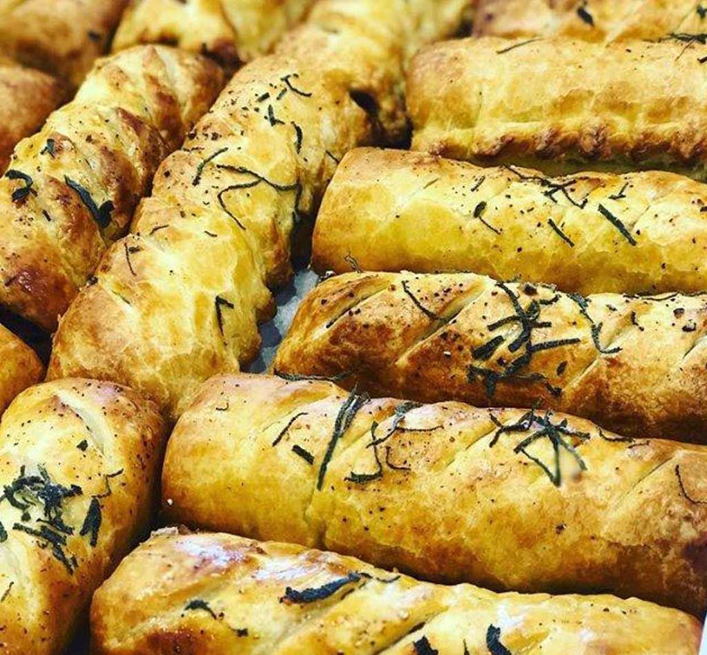 Sausage rolls at Blue Tin Coffee Bar