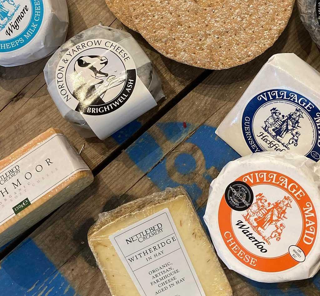 Locally produced cheeses at Blue Tin Farm Shop