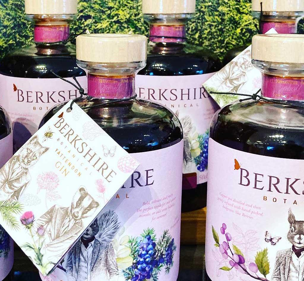 Locally produced gins at Blue Tin Farm Shop