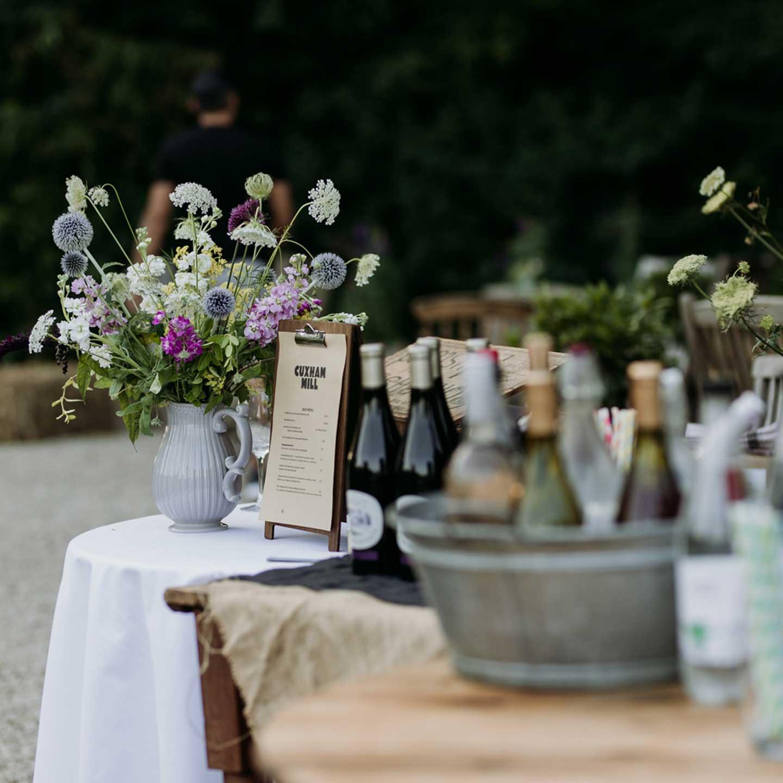 Wine tasting at Blue Tin Produce
